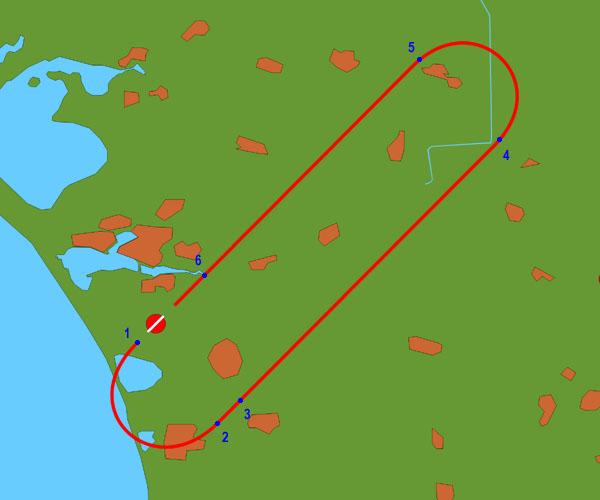 Схема полета по кругу 2x180